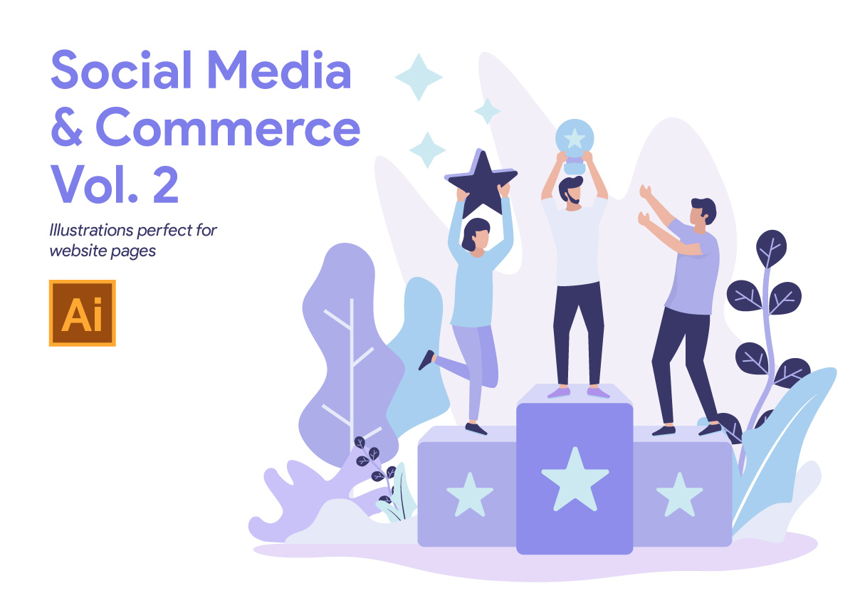 Social Media and Commerce Illustration Vol. 2