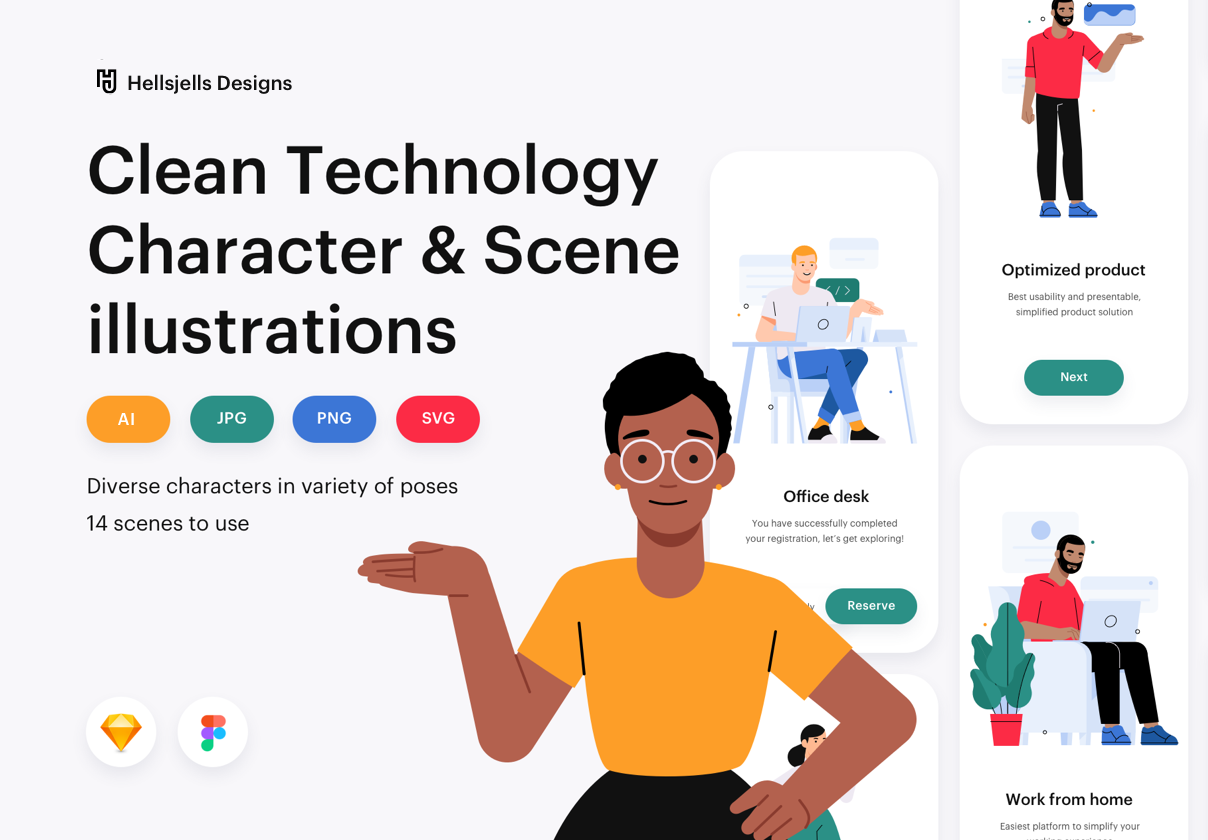 Clean Technology Character & Scene illustrations