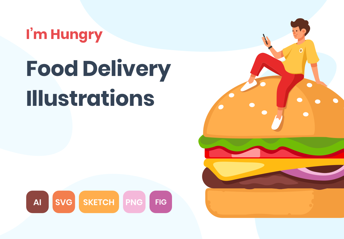 I'm Hungry. Food Delivery Illustrations