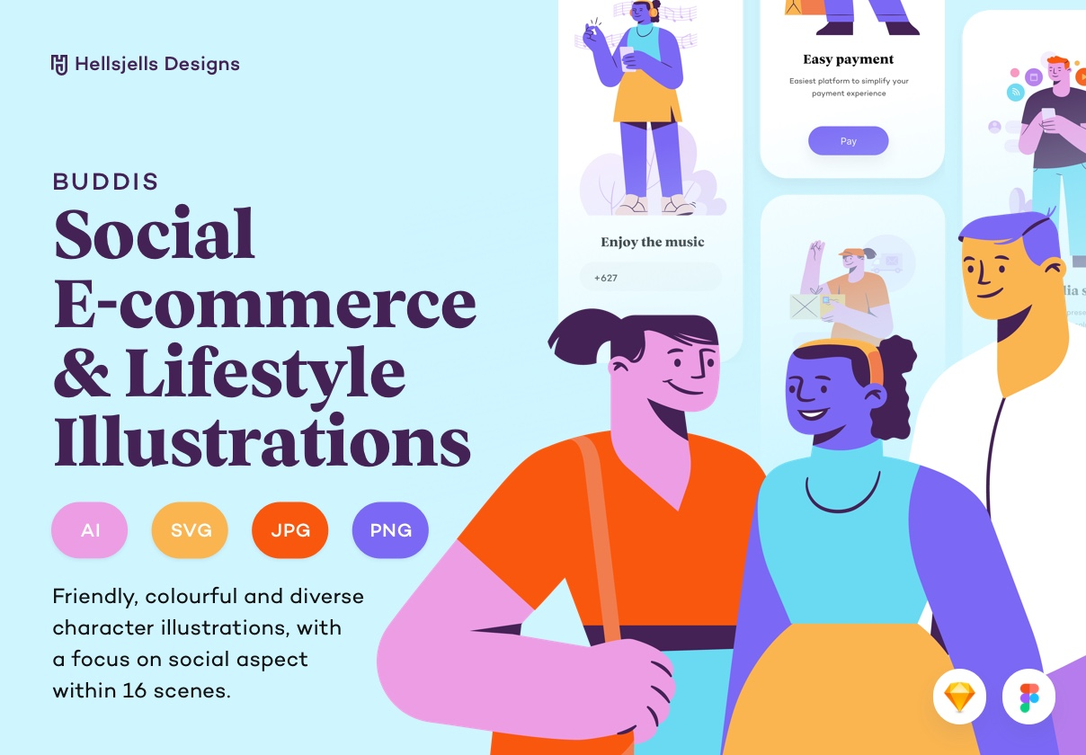 Buddis – Social E-commerce & Lifestyle Illustration Kit
