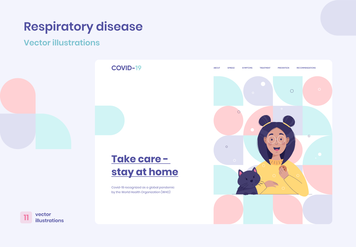 Vector illustrations on the theme of coronavirus and colds